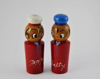 gallerymichel Vintage Japanese Salty and Peppy Wooden Salt & Pepper Shakers