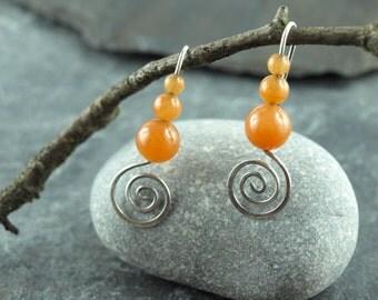 earrings,wire work,silver,Aventurin