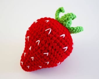 Crochet Strawberry Plush, Crochet Food Plush, Crochet Fruit, Crochet Playfood