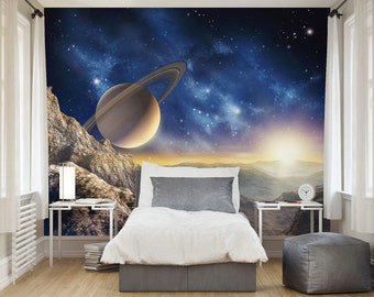Photo Wallpaper Wall Murals Planet Saturn Outer Space Wall Decals Bedroom  Decor Home Design Wall Art