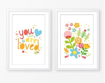 kids poster set,children wall art,nursery poster,typography,nature poster,kids love quote,you are loved,nursery decor,baby girl poster