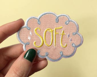 Soft pastel cloud patch | iron on embroidered patch