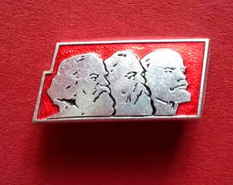 Lenin, Marx, Engels. Vintage collectible badge, Pin, Russia, Soviet Union, Made in USSR, 1970s