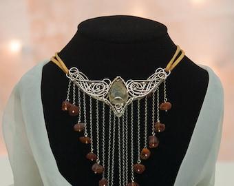 Diana -wire wrapping fine silver necklace, rutilated quartz, raw amber, suede cord,orange,tangerine,wire wrap, wild, boho, goddess