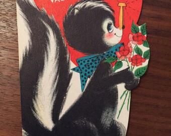 Vintage Hallmark Valentines Card / Unused / 1960's / Folded Card / Skunk and Flowers