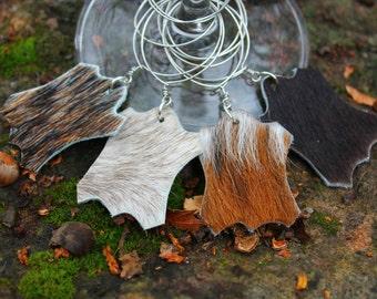 Set of 4 - Hair On Hide Mini Cowhide Wine Glass Charms