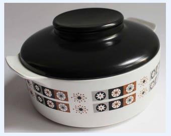 Vintage Ballerina Hostess Casserole Pot, Lidded Serving Dish, Mid Century - 70's