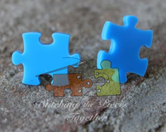 Light Blue Puzzle Piece Earrings Autism Awareness