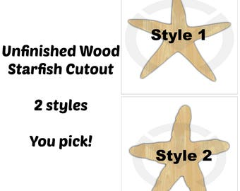 Unfinished Wood Starfish Laser Cutout, Wreath Accent, Door Hanger, Ready to Paint & Personalize, Various Sizes, 2 styles, Beach, Nautical