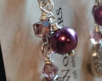 Purple and silver chandelier earrings
