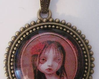 Retro vintage glass necklace little girl crying day of the dead halloween skeleton bones rockabilly pin up gothic penny dreadful horror