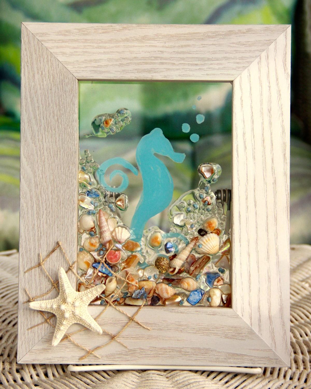 Seahorse Wall Decor For Beach House Decor Seashell Art For