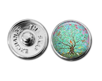 Tree of life charm, tree of life jewelry, snap button charm, snap button, button charm, button snaps, button jewelry