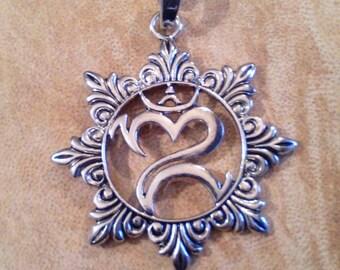 Large ohm mandala pendant. Silver plated mandala pendant. Silver plated ohm pendant. Om, aum pendant.