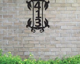 Floral Vertical Metal House Number