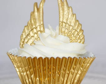 12 pairs x Golden angel wings sugar fondant cake toppers / cake stakes
