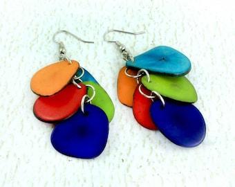 Funky Earrings - Tagua Nut - Eco Friendly Vegetable Ivory - Fair Trade Jewelry - Colorful Earrings - Tropical Earrings - Large Earrings 3210