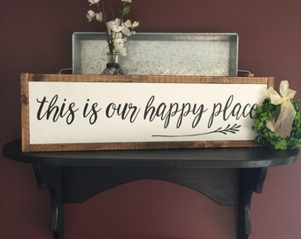This is our happy place | framed sign | farmhouse style | family sign | living room | 26x 8""