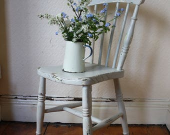 Shabby Painted Pine Spindle Back Farmhouse Chair