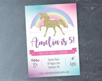 Unicorn Party Invitation - INSTANT DOWNLOAD Magical Unicorn Invitation by Printable Studio