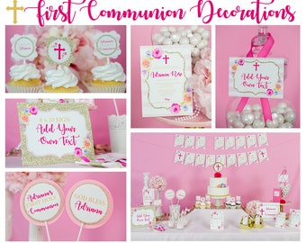 First Communion Decorations in Pink Gold and Floral Instant Download - Girls First Communion Party by Printable Studio