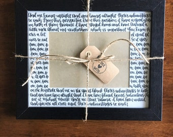 Modern Calligraphy Picture Frame Matte with Wedding Song Lyrics - FRAME INCLUDED- Handlettered Lyrics - Calligraphy Lyrics- Anniversary Gift