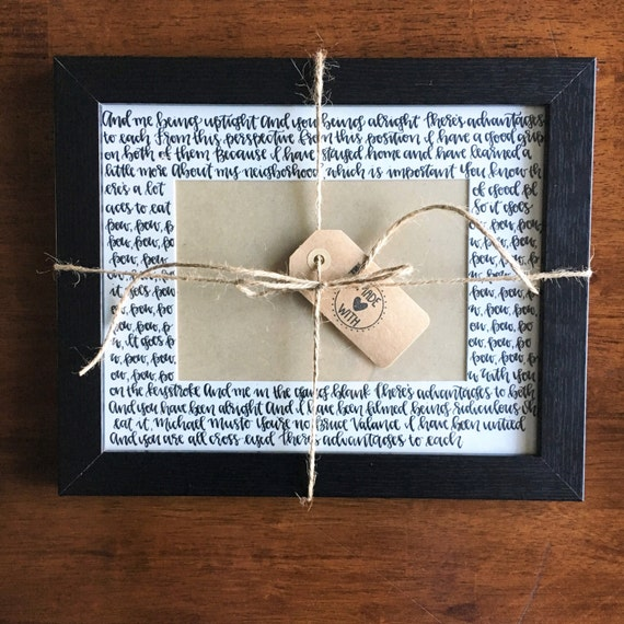 Modern Calligraphy Picture Frame Matte With Wedding Song