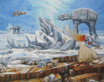 """Battle of Hoth AT-AT Walker and T-47 Airspeeder - Star Wars Landscape Parody Painting - Original Oil Painting - 11"""" x 14"""""""