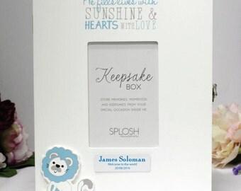 Personalised Baby Keepsake Box - Blue Lion