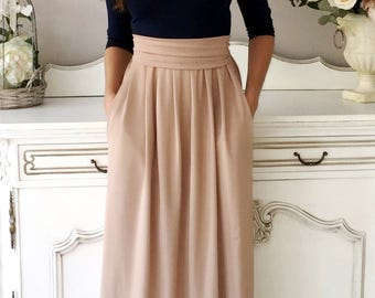 Navy Blue- Cappuccino Maxi Women's Dress 3/4 Sleeves Pockets