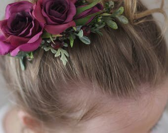 Burgundy Flower Comb- Burgundy Bridesmaid Hair Accessory- Flower Hair Comb- Boho Wedding Headpiece- Burgundy Wedding - Fall Wedding Comb