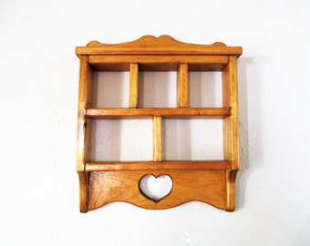 Heavy Wood Hanging Shelf With Heart Design