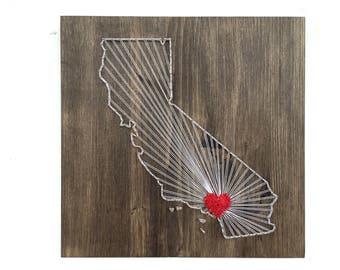 California Any State String Art California Wall Art Home Decor