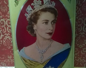 Handsome Walters' Palm Toffee 1953 Coronation tin with royal portrait