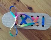 Wooden Lacing block, lacing shoe, lacing toy, threading block, threading toy, Montessori, Waldorf