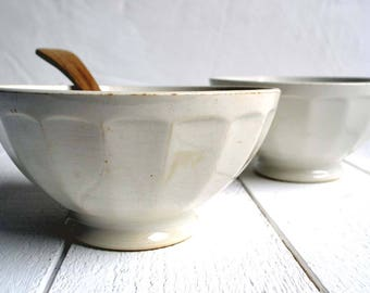 Pair of Antique White French Ironstone Faceted Cafe au Lait Bowls Breakfast Bowls