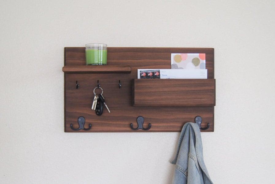 wall coat rack floating shelf entryway organizer mail storage. Black Bedroom Furniture Sets. Home Design Ideas