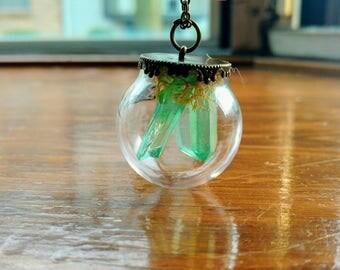 Green Quartz Stalactite Terrarium Necklace