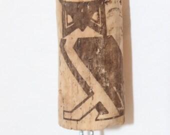 Keychain Recycled Wine Cork Owl Motif