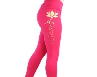 Lotus Yoga Pants- Lightweight Lotus Yoga Tights- Fold At Waist Tapered Leggings- LPA2 - Gold on Pink
