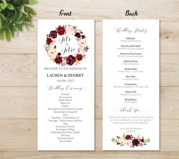 Vistaprint Wedding Programs: Floral Wedding Program Template Printable Wedding Program