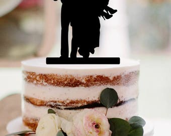 Wedding Cake Topper Groom Carrying Bride Silhouette Wedding cake topper carrying bride cake topper wedding topper silhouette cake topper fam