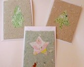 Plain Christmas card, handmade and hand marbled paper, 3 designs available: star (7), cookie tree (4), triangular tree (4), white envelope