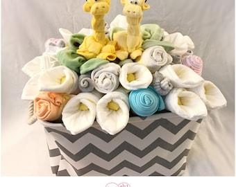 Gender Neutral Baby Gift Basket - Giraffe Baby Shower Basket/Co-Worker/Corporate  Baby Gift