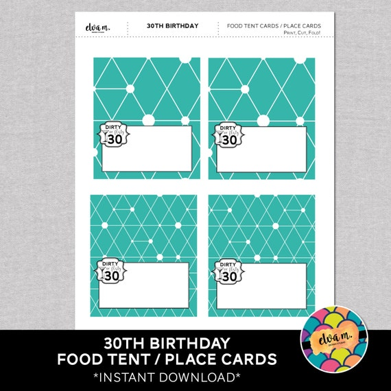 30th birthday food tent cards 30th birthday place cards for 30th birthday decoration packages