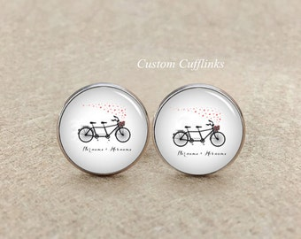 Bike cufflinks, bicycle cufflinks, Wedding cufflinks, Silver Cufflinks, Groom and Bride Name cufflinks, sports cufflinks, bike lover cuff