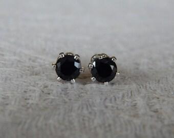 Spinel 4mm Studs, Black Spinel Stud Earrings, Spinel Posts, Black Stud Earrings, Black Spinel Earrings, Black Spinel, Black Jewelry, Spinel
