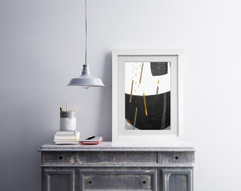Original Abstract Painting - Modern Original Abstract Painting - Black White Yellow Abstract Painting - Collage Modern Painting -Grey art
