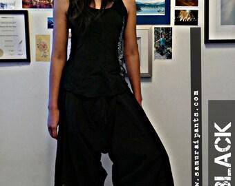 Classic Black Elastic Waist Samurai Pants SM2E