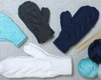 Knitting Pattern: Subtle Cable Knit Mittens in woman, child, toddler, & baby sizes